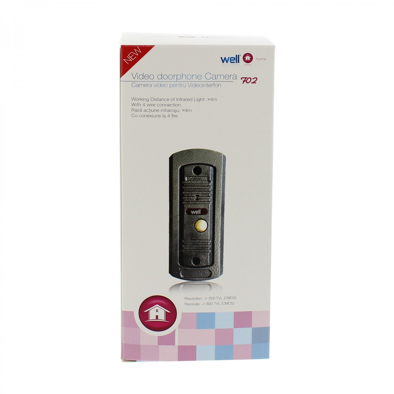 Camera videointerfon, conexiune 4 fire, Well VDPC-F02GY-WL, infrarosu