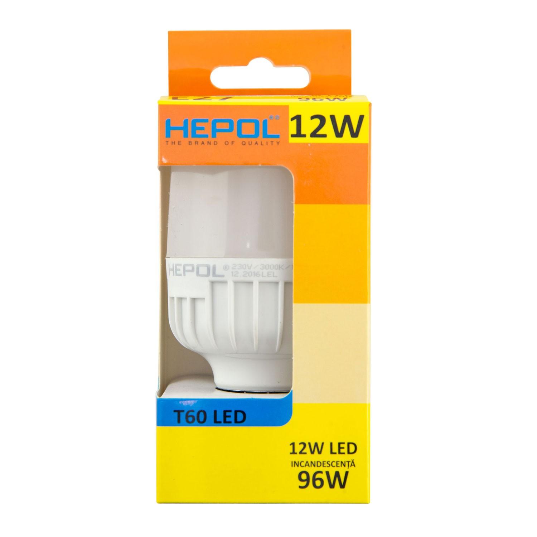 Bec LED Hepol tubular T60 E27 12W lumina calda