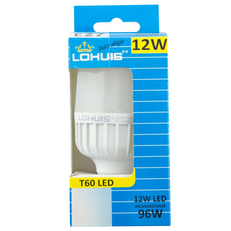 Bec LED Lohuis tubular T60 E27 12W 1100lm lumina rece 6500 K
