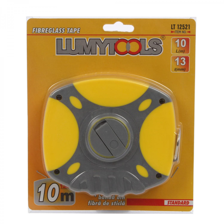 Ruleta cu banda din fibra de sticla, Lumytools LT12521, 10 m