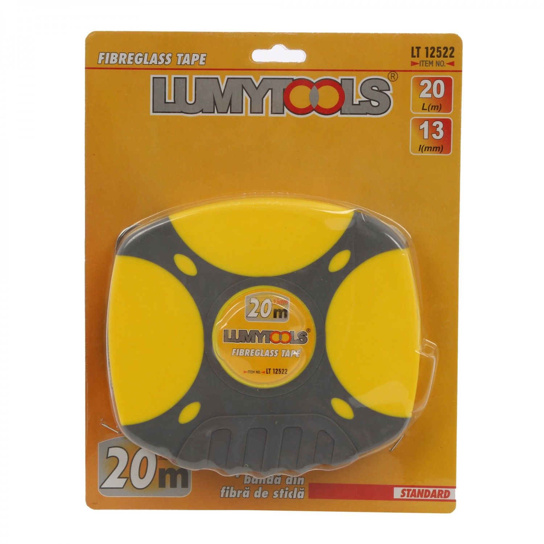 Ruleta cu banda din fibra de sticla, Lumytools LT12522, 20 m