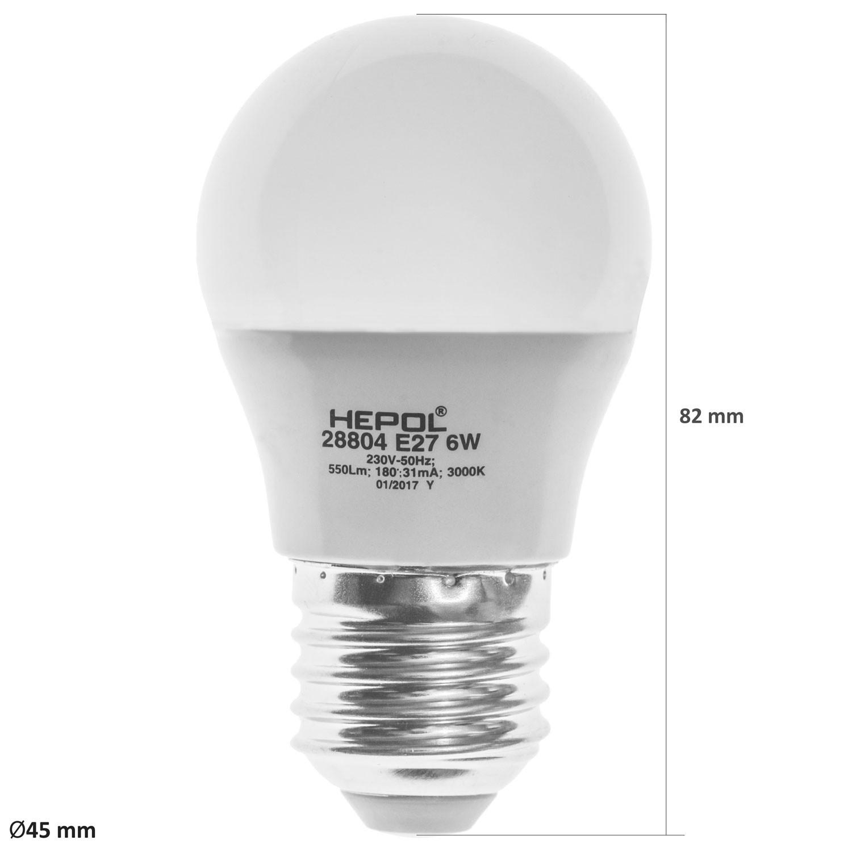 Bec LED Hepol mini E27 6W lumina calda, dimabil