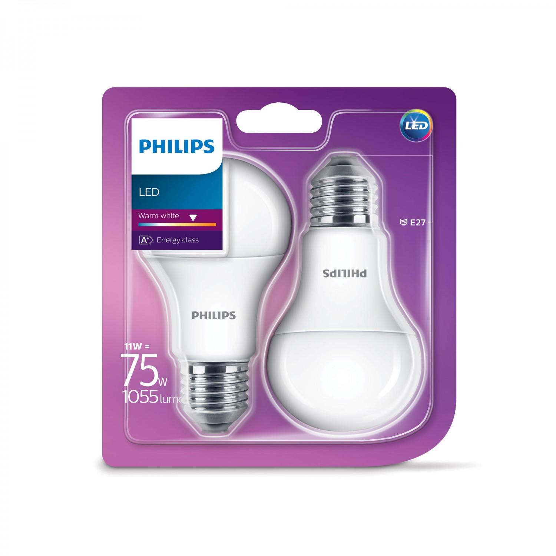 Bec LED Philips clasic A60M E27 11W lumina calda, 2 buc