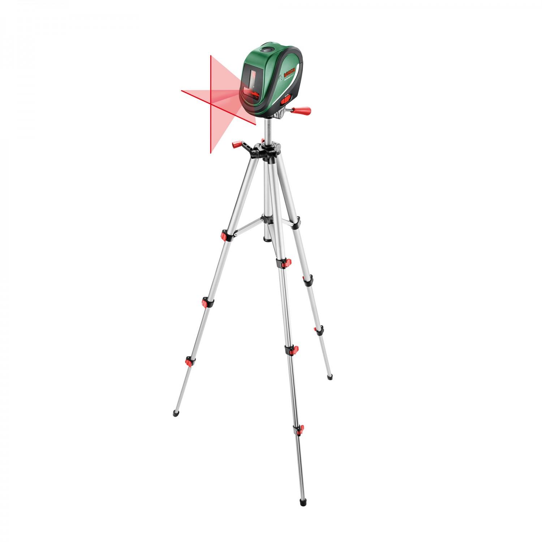Nivela cu laser, cu linii in cruce, cu autonivelare si puncte de verticala, Bosch UniversalLevel 2, 0603663801 + stativ