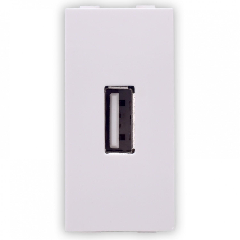 Priza USB Hoff, montaj incastrat, alba, modulara - 1, 5V, 2.1A