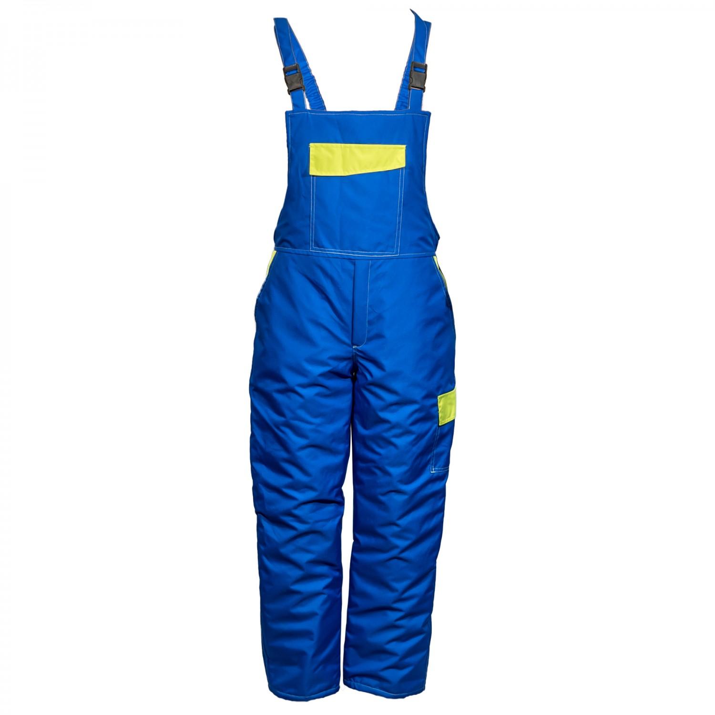 Pantaloni salopeta pentru protectie Kora vatuit, fas impermeabil, albastru, marimea M
