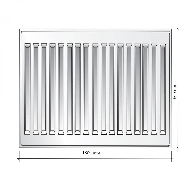 Radiator otel Mastas 22PKKP, 600 x 1800 mm, accesorii incluse