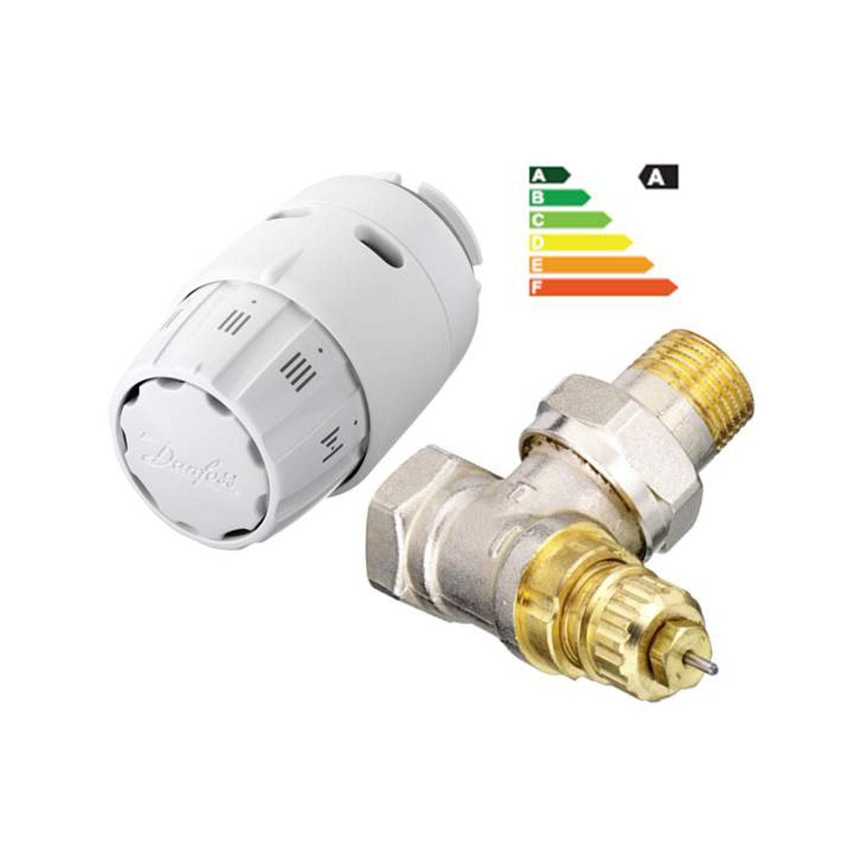 Robinet colt tur pentru radiator, RA-FN + senzor termostatic, RAS-C2, Danfoss