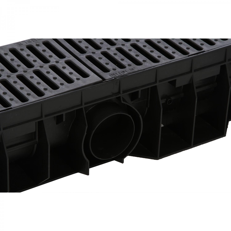 Rigola Skip PE-HD cu gratar PE-HD negru, 1000 x 158 x 120 mm