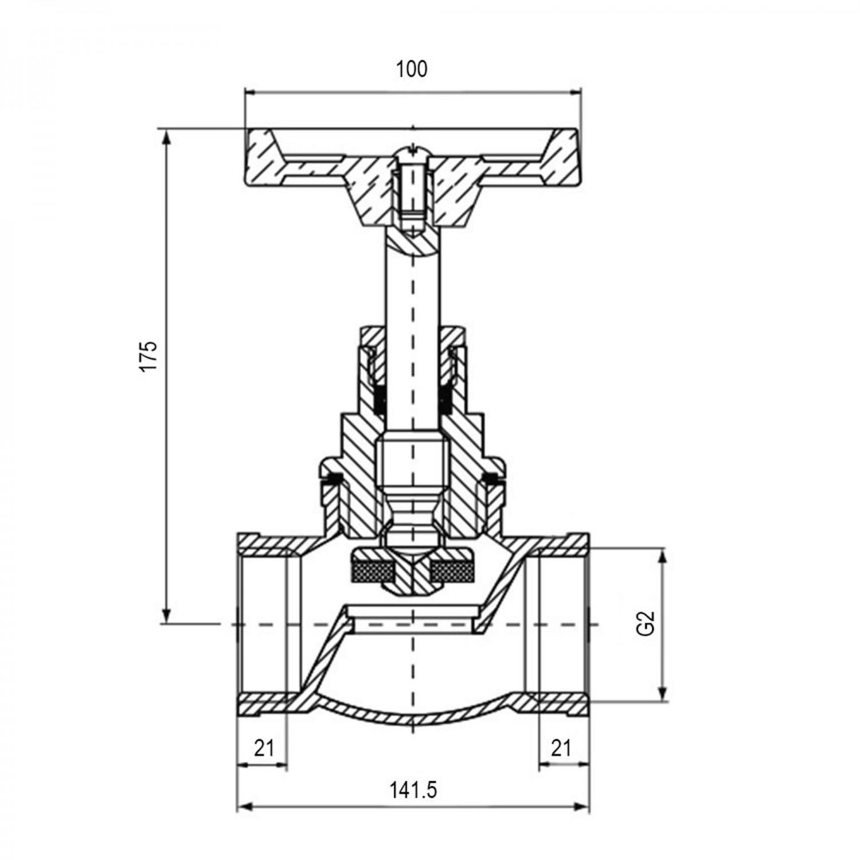 Robinet de trecere cu ventil Valvex Viking, fonta, filet interior-interior, DN50, maner rozeta