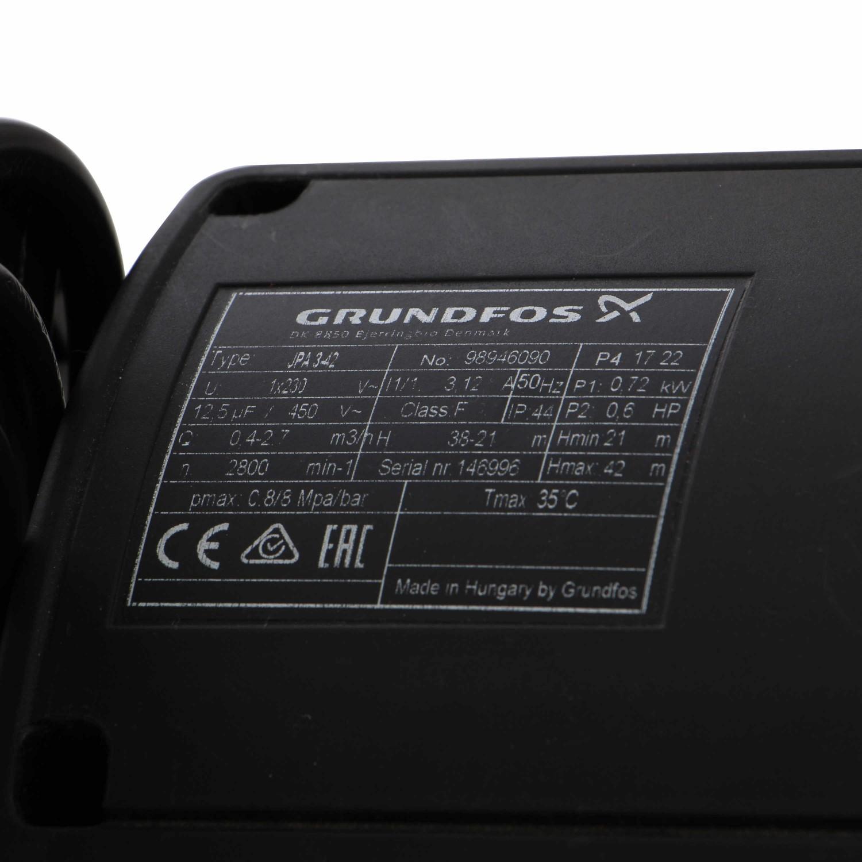 Hidrofor Grundfos JPA 3-42, cu pompa electrica centrifuga + rezervor 24 L + presostat + manometru + furtun flexibil + racord, 720 W