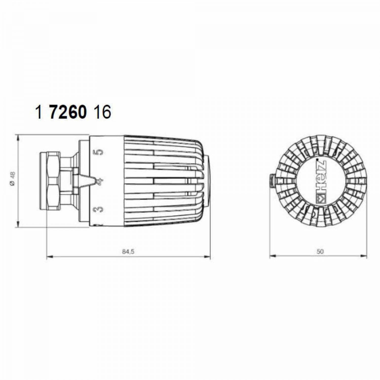Set cap termostatic Project + robinet termostatic coltar 1/2'' + robinet retur coltar 1/2''