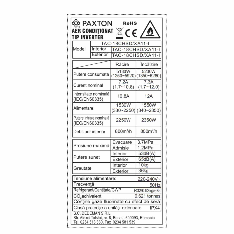Dedeman Aer Conditionat Inverter Paxton Wi Fi 18000 Btu