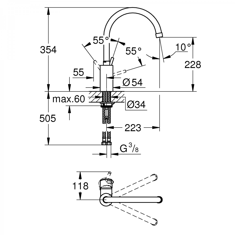 Baterie bucatarie, Grohe Concetto 32 661 001, stativa, monocomanda, alama, finisaj cromat