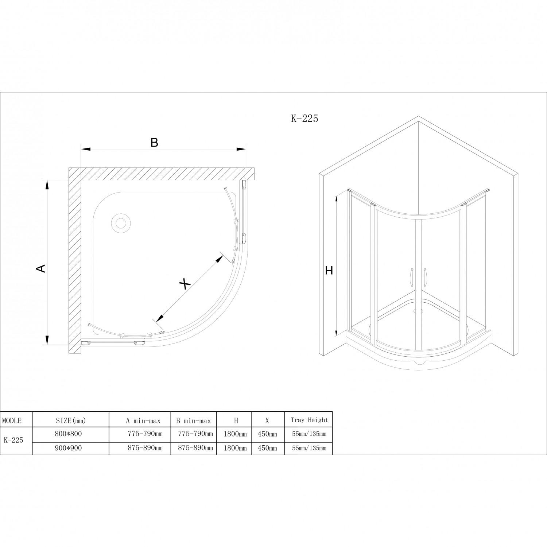 Cabina dus + cadita semirotunda Korra K225, 90 x 90 x 195 cm