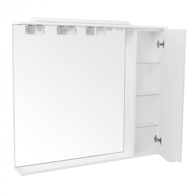 Dulap baie cu oglinda, iluminare si polita, 1 usa, dreapta, Arthema Zenith 141 - D - IN - A2, alb, 98 x 17.5 x 87 cm