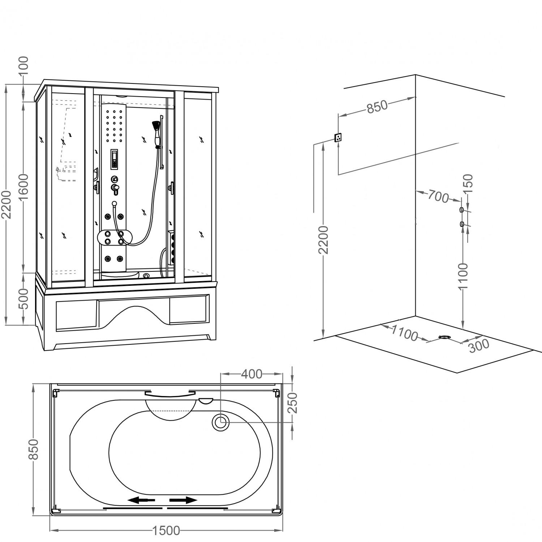 Cabina dus cu hidromasaj FD-C3 150QB, 85 x 150 x 220 cm