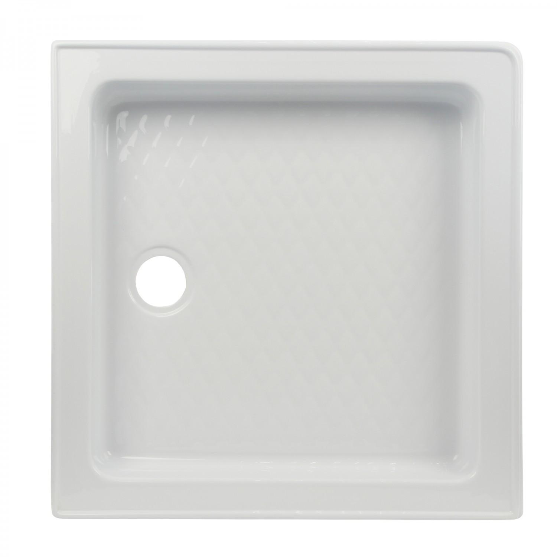 Cadita de dus patrata West Erika, acril, alb, 70 x 70 x 27 cm, masca si suport incluse