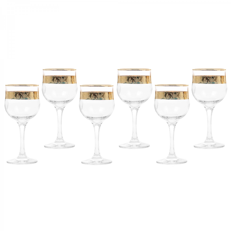 Pahar vin rosu, Violet, auriu, din sticla, 240 ml, set 6 bucati