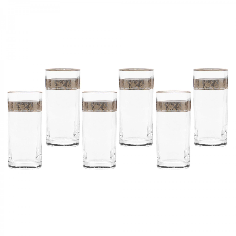 Pahar suc, Violet, platinum, din sticla, 290 ml, set 6 bucati