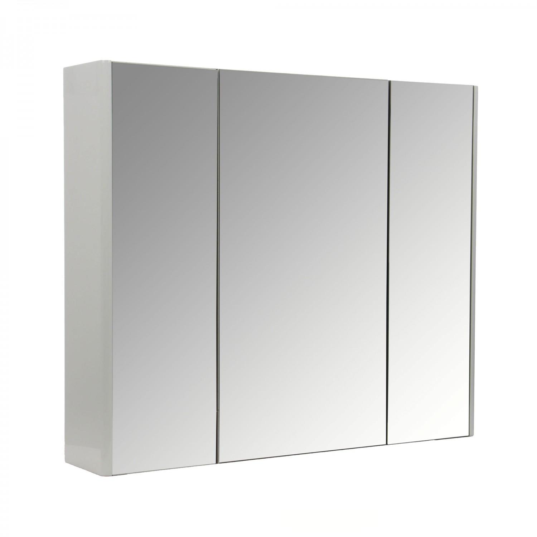 Dulap baie cu oglinda, Wave, 3 usi, alb, 80 x 16 x 68 cm