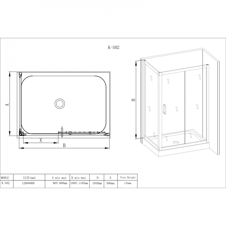 Cabina dus + cadita rectangulara K - S02, 90 x 120 x 206.5 cm