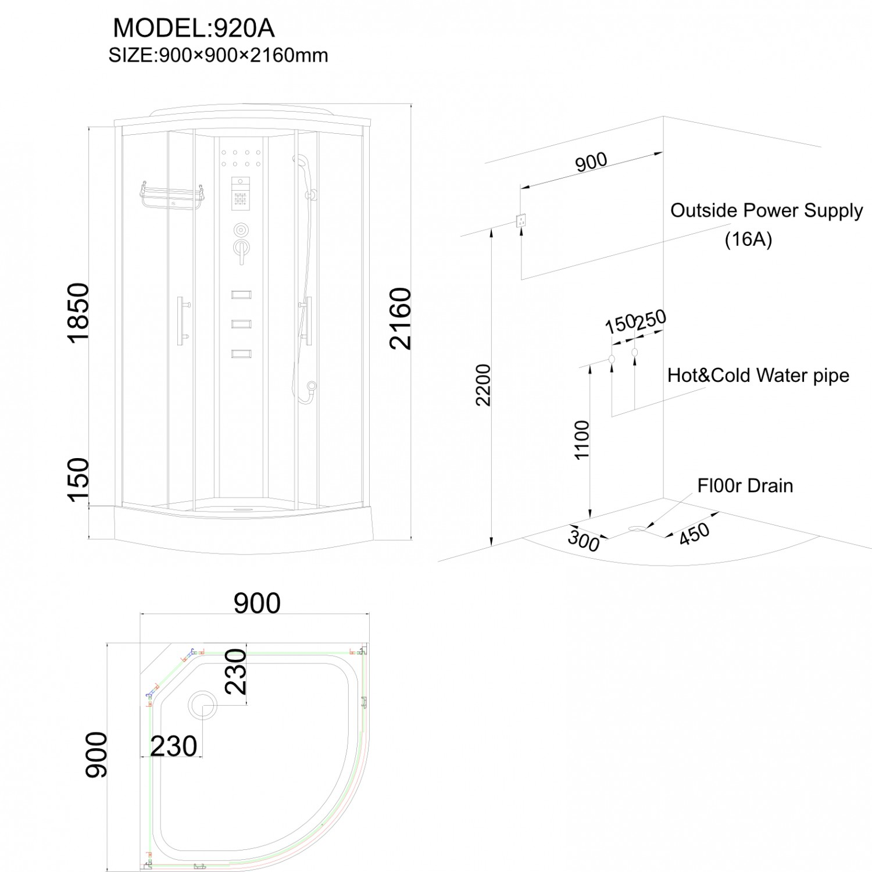 Cabina dus cu hidromasaj ANS-920, 90 x 90 x 216 cm
