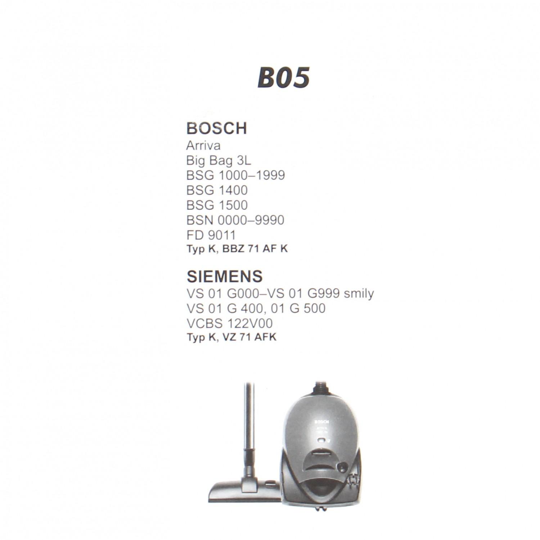 Saci aspirator Bosch/Siemens K, hartie, pachet 5 bucati