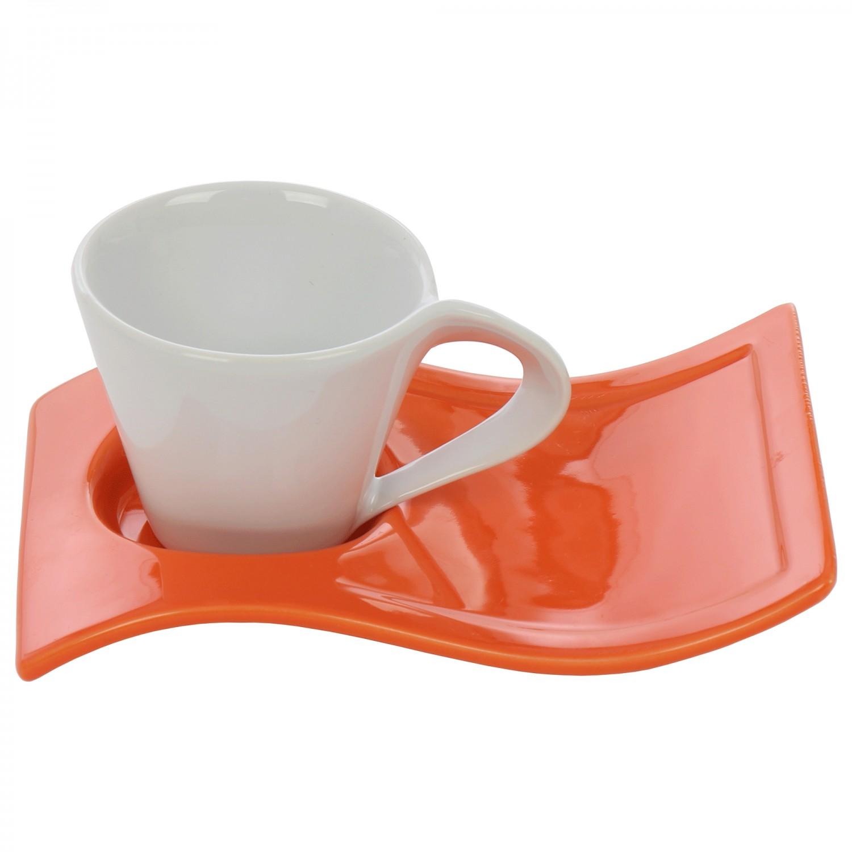 Ceasca si farfurie pentru cafea DY0633, ceramica, diverse culori, 120 ml
