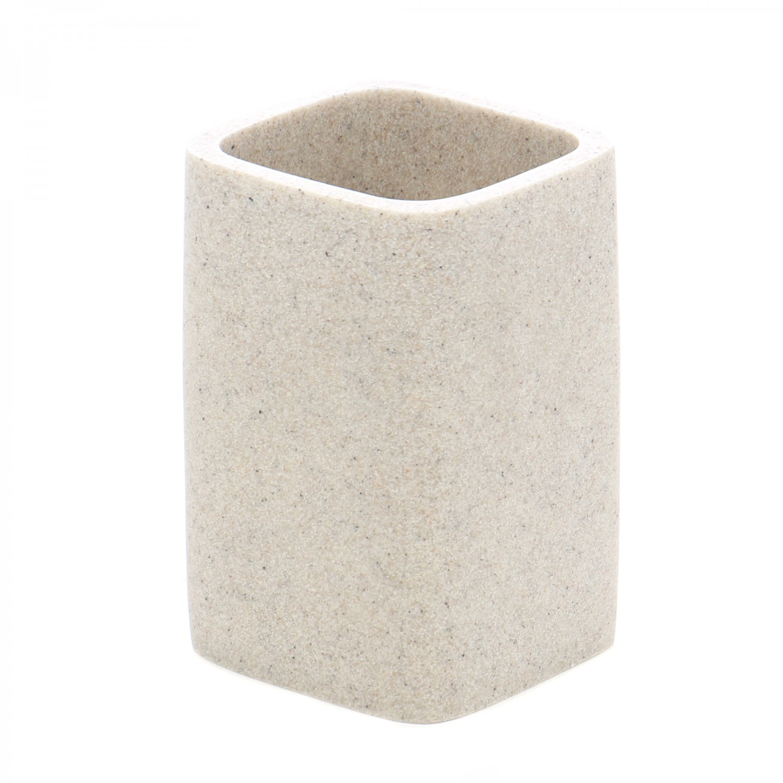 Pahar baie pentru igiena personala, Kadda Qubika BPO-1409B, polirasina, finisaj piatra, 11 x 7.4 x 7.4 cm