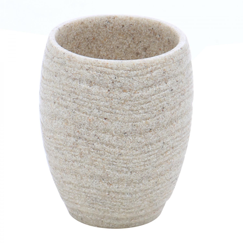 Pahar toaleta Kadda Sand BPO-0375C-1, polirasina, finisaj piatra, 10.3 x 8.3 cm