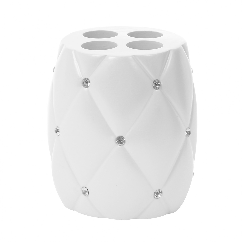Suport periute dinti, Kadda Shiny BPO-1160B, polirasina, alb, cu pietricele, 9.5 x 8.5 cm