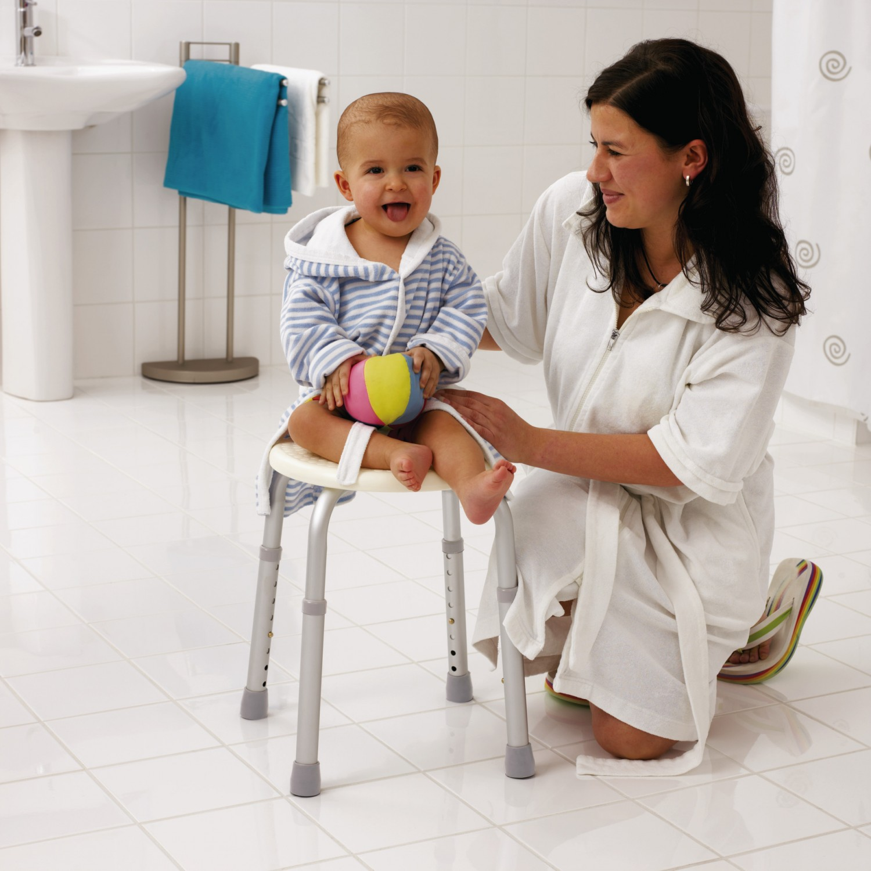 Scaun ajustabil pentru baie, Davo Pro Ridder A00603101, alb, 32 x 34 x 35 / 53 cm