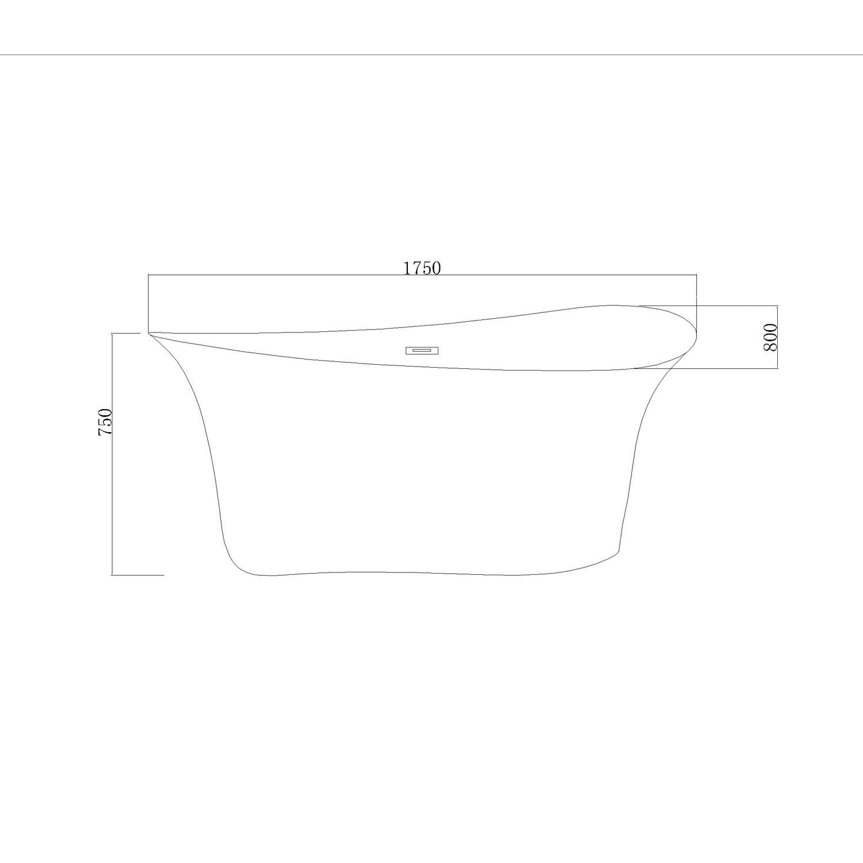 Cada baie ovala West Amena, acril, 175 x 80 cm