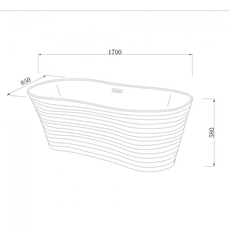 Cada baie ovala West Ranya, acril, 170 x 85