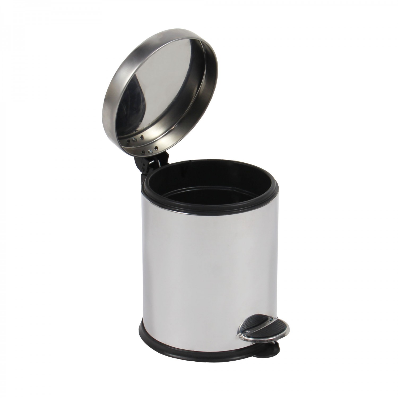 Cos gunoi BCK410400 din inox + plastic, forma cilindrica, cromat, cu pedala si capac batant, 5L