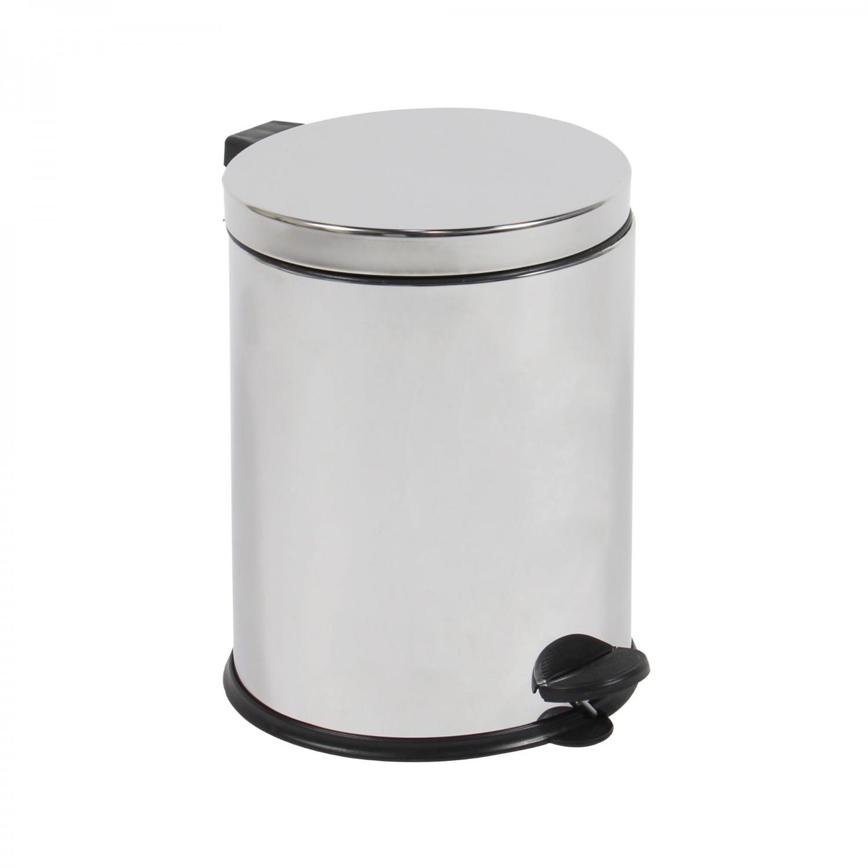 Cos gunoi BCK411400 din inox + plastic, forma cilindrica, cromat, cu pedala si capac batant, 8L