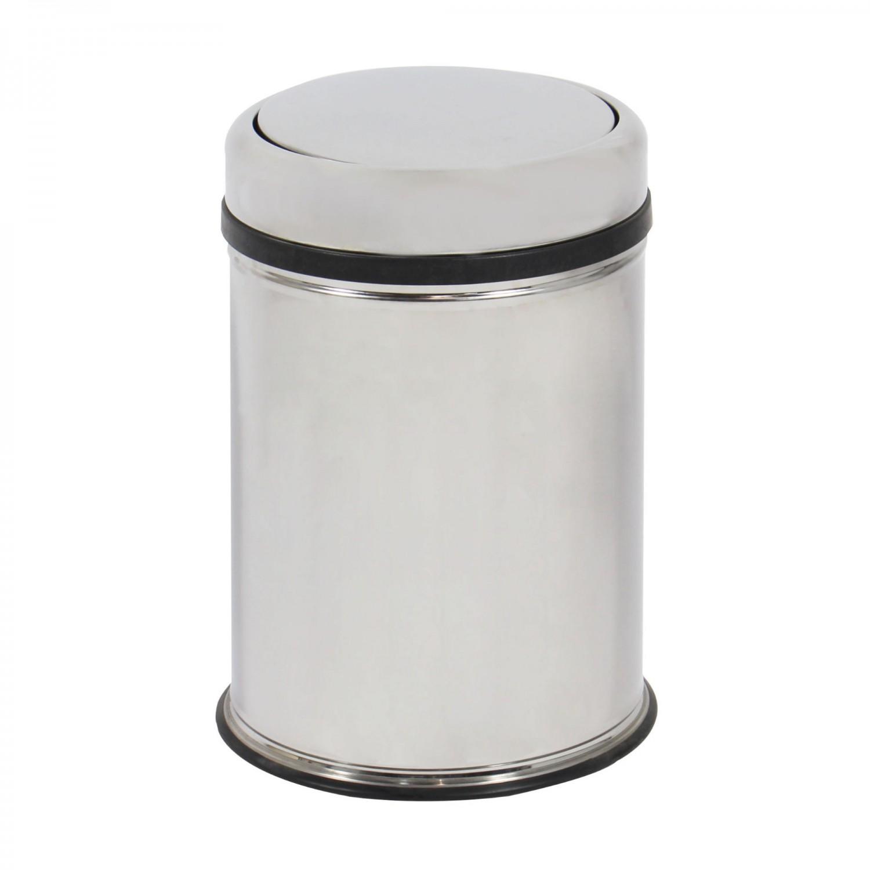 Cos gunoi BCK495400 din inox + plastic, forma cilindrica, cromat, cu capac gravitational, 8L