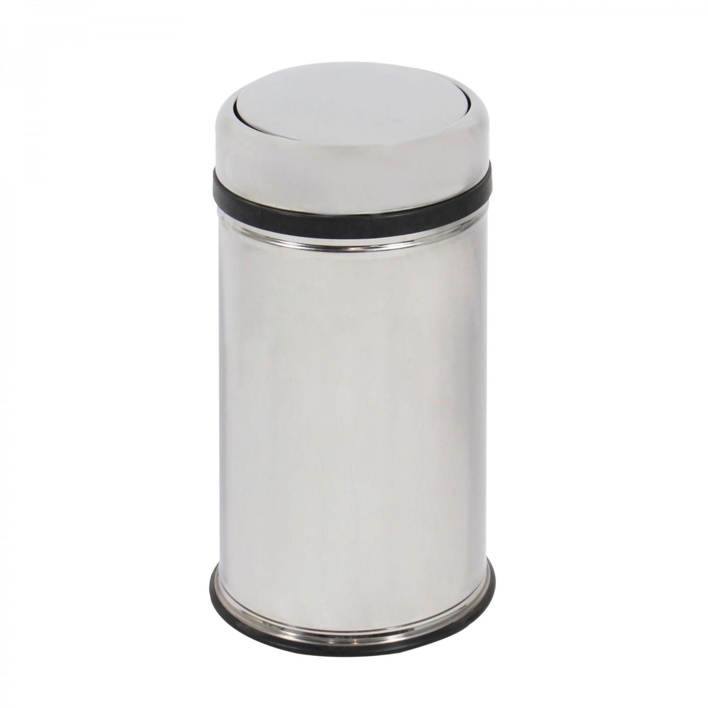 Cos gunoi BCK497400 din inox + plastic, forma cilindrica, cromat, cu capac gravitational, 16L