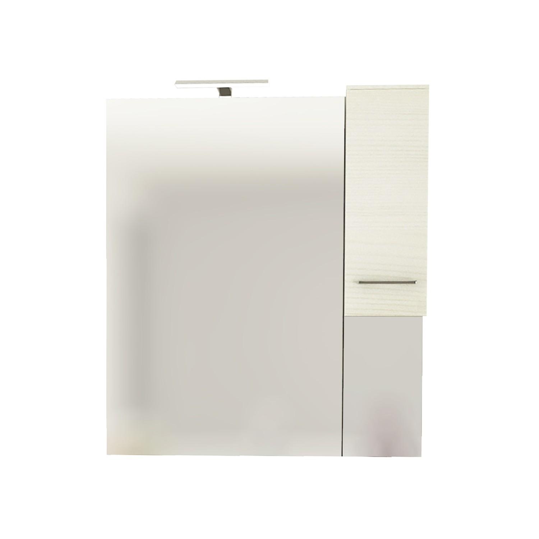 Dulap baie cu oglinda, iluminare, 1 usa, dreapta, Savini Due Rubino 4124D, rovere bianco, 81 x 17 x 107.5 cm
