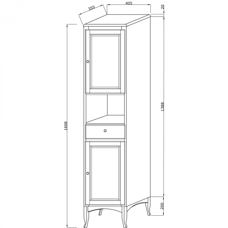Dulap baie pe sol, 2 usi, cu sertar si usi, Savini Due Daiana 7092S/41, decape alb, deschidere stanga, 161 x 40.5 cm