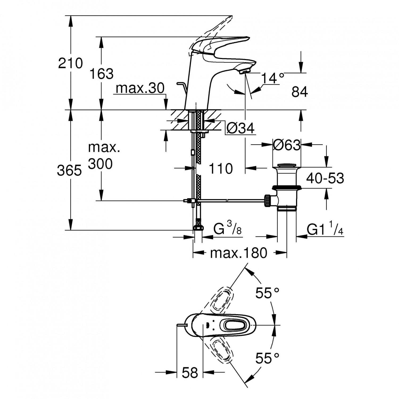 Pachet baterie baie dus + baterie lavoar + para dus + bara + furtun Grohe Eurostyle New, 2 functii, 1.75 m