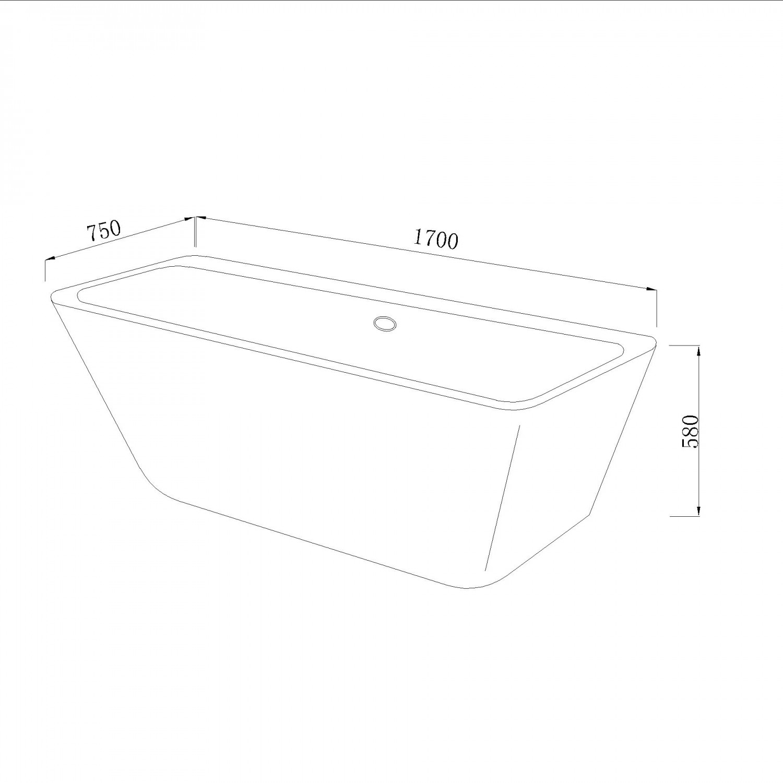Cada baie rectangulara West Tabitha, acril, 170 x 75 cm