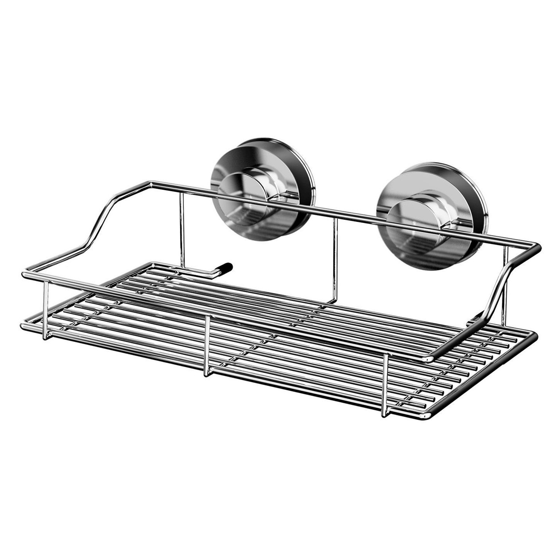 Etajera pentru baie din metal Davo Pro 12010100, montare cu ventuze, 35 x 18.7 x 9.5 cm