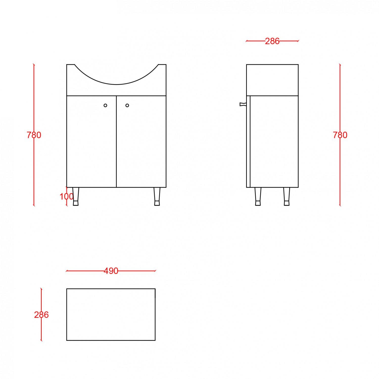 Masca baie + lavoar + oglinda Martplast Start 550, cu usi, alb, 49 x 78 x 28.6 cm