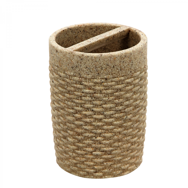 Suport periute dinti, Twist 820071S-3, polistone, crem, 10 x 7.5 cm