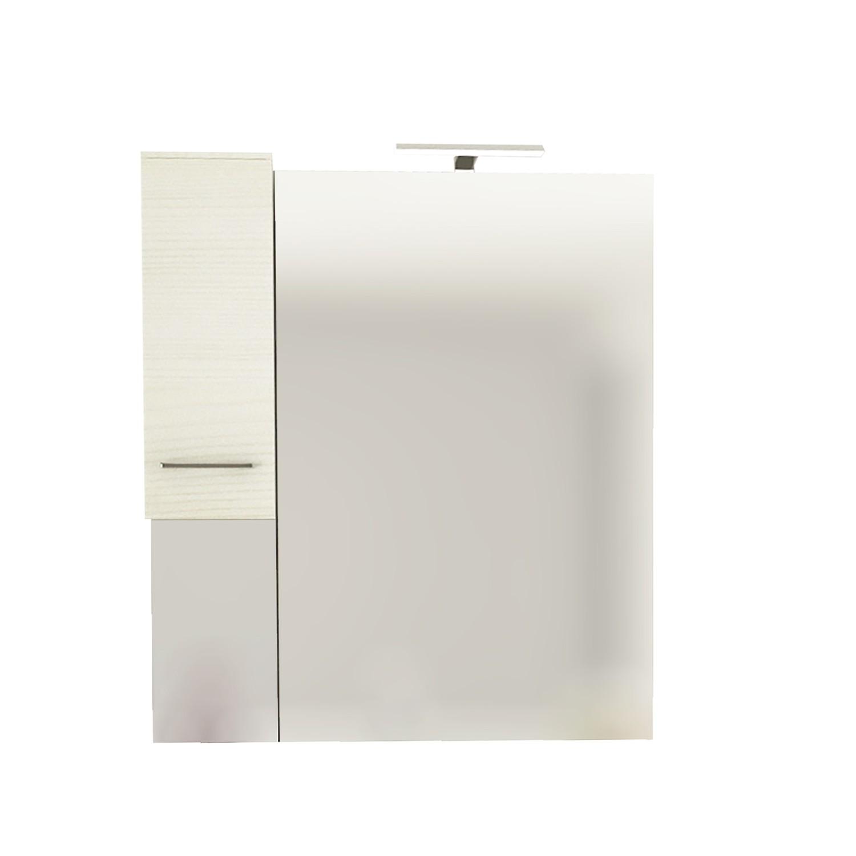 Dulap baie cu oglinda, iluminare, 1 usa, stanga, Savini Due Rubino 4124S, rovere bianco, 81 x 17 x 107.5 cm