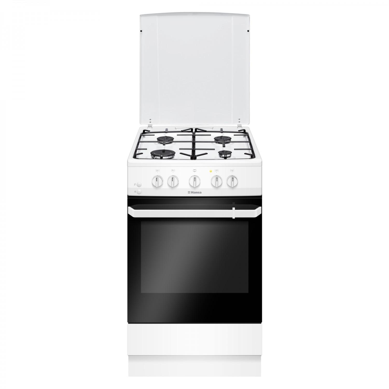 Aragaz electric / gaz Hansa FCMW530009, 4 arzatoare gaz, cuptor electric, aprindere electrica, latime 50 cm, alb