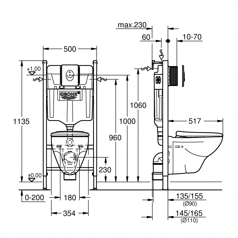 Pachet rezervor apa, incastrat Grohe Solido 39116000, 50 x 113.5 cm, clapeta de actionare si vas WC inclus
