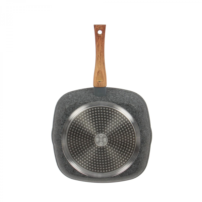 Tigaie grill HT-FCC7828, metal aliaj de aluminiu, gri, 28 cm